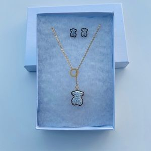 Jewelry - Stainless steel necklace and earrings set bear